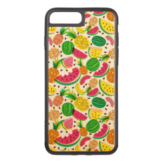 Red & Yellow Tropical Fruit Pattern Carved iPhone 8 Plus/7 Plus Case