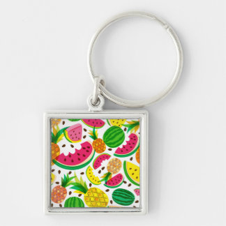 Red & Yellow Tropical Fruit Pattern Key Ring