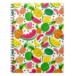 Red & Yellow Tropical Fruit Pattern Notebook