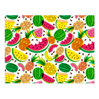 Red & Yellow Tropical Fruit Pattern Postcard
