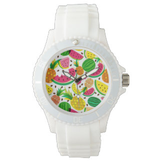 Red & Yellow Tropical Fruit Pattern Watch