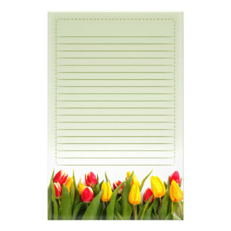 Red Yellow Tulip Flowers Green Background Lined Custom Stationery