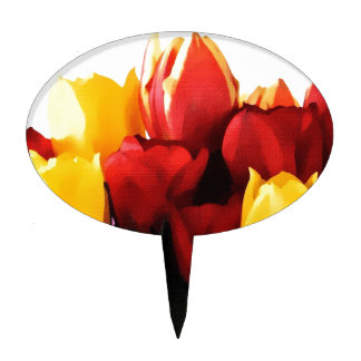 Red Yellow Tulips Cake Topper