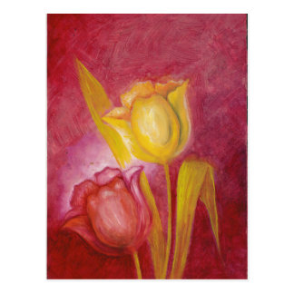 Red & Yellow Tulips Floral Art Cards Postcard