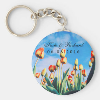 Red Yellow Tulips Floral Wedding Favors Keychain