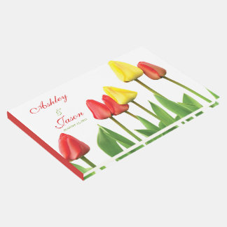Red Yellow Tulips Personalized Wedding Guest Book