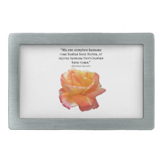 Red Yellow Variegated Rose and Thorn Quote Belt Buckle