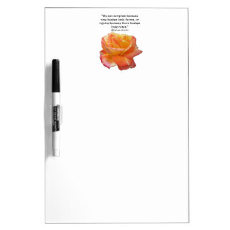 Red Yellow Variegated Rose and Thorn Quote Dry Erase Board