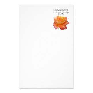 Red Yellow Variegated Rose and Thorn Quote Stationery
