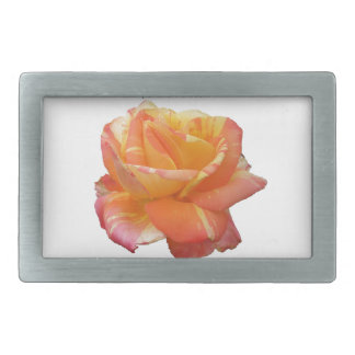 Red Yellow Variegated Rose Rectangular Belt Buckle