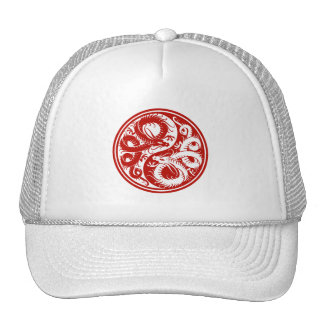 Red Yin Yang Chinese Dragons Mesh Hat