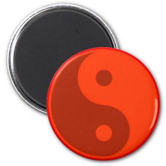Red Yin Yang Spiritual Energy Balance 6 Cm Round Magnet