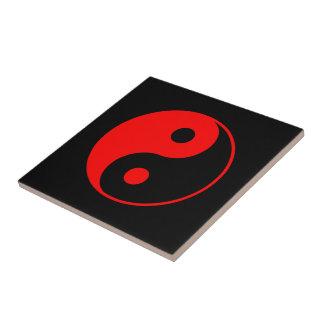 Red Yin Yang Symbol Small Square Tile