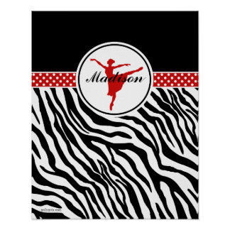Red Your Name Zebra Print Ballet Dancer