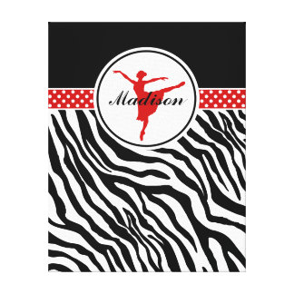 Red Your Name Zebra Print Ballet Dancer Canvas Prints
