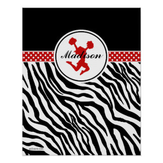 Red Your Name Zebra Print Cheerleader / Pom