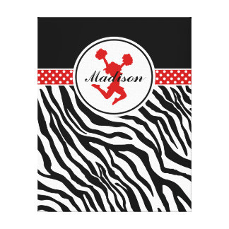 Red Your Name Zebra Print Cheerleader / Pom Gallery Wrap Canvas