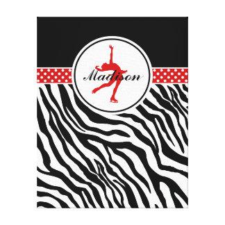 Red Your Name Zebra Print Figure Skating Canvas Prints