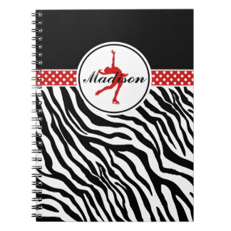 Red Your Name Zebra Print Figure Skating Notebooks