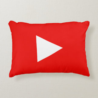 Red YouTube Play Button Decorative Cushion