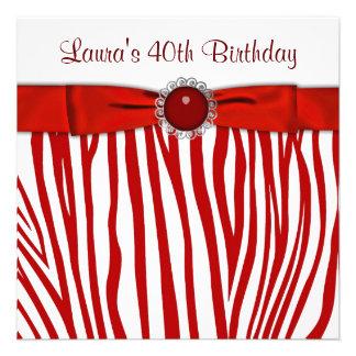 Red Zebra 40th Birthday Party Invitation