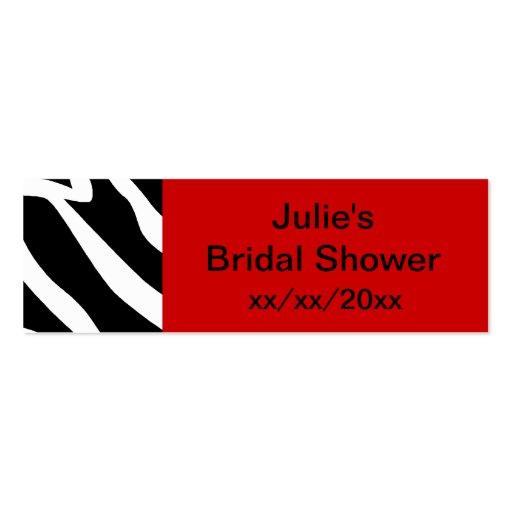 Red Zebra Bridal Shower Business Cards