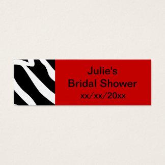 Red Zebra Bridal Shower Mini Business Card