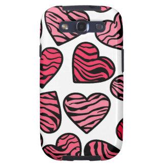 Red zebra hearts BlackBerry Samsung Galaxy Case Samsung Galaxy S3 Cases