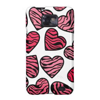 Red zebra hearts BlackBerry Samsung Galaxy Case Samsung Galaxy SII Case