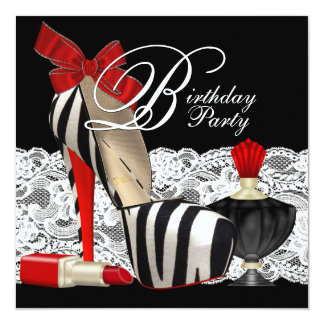 Red Zebra High Heel Shoes Black Red Zebra Party 13 Cm X 13 Cm Square Invitation Card
