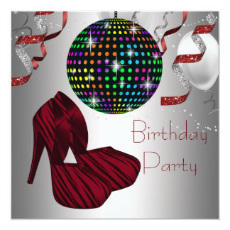 Red Zebra High Heel Shoes Disco Birthday Party 13 Cm X 13 Cm Square Invitation Card