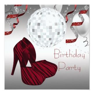 Red Zebra High Heel Shoes Disco Birthday Party 13 Cm X 13 Cm Square Invitation Card