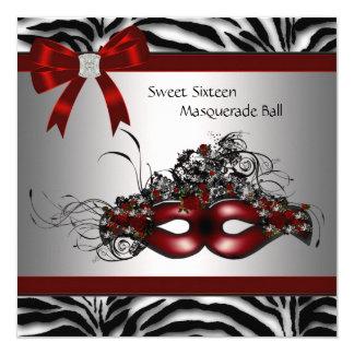 Red Zebra Masquerade Party 13 Cm X 13 Cm Square Invitation Card