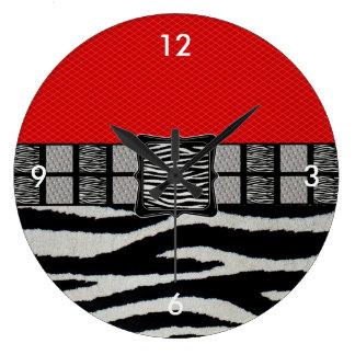 Red Zebra Metal Monogram Large Clock