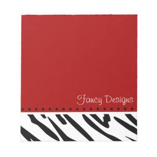 Red Zebra Print Notepad