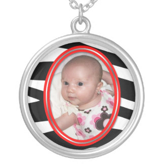 Red Zebra Print Photo - Sterling Silver Necklace