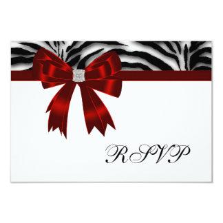 Red Zebra Red Bow RSVP 9 Cm X 13 Cm Invitation Card