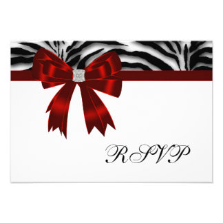 Red Zebra Red Bow RSVP Personalized Announcements