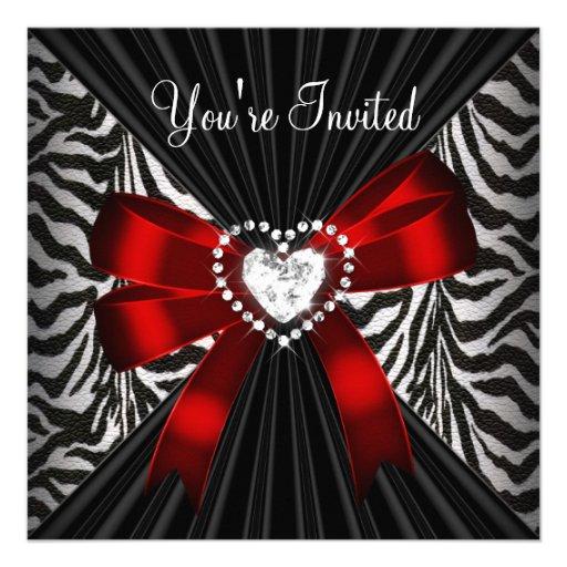 Red Zebra Stripe Black Birthday Party Image Invite