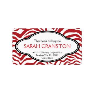 Red  Zebra Stripes Pattern Book plate Address Label
