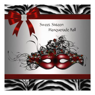 Red Zebra Sweet 16 Masquerade Party Custom Invitations