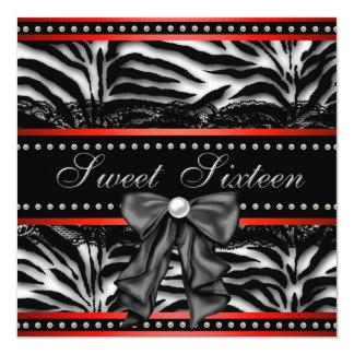 Red Zebra Sweet Sixteen Birthday Party 13 Cm X 13 Cm Square Invitation Card