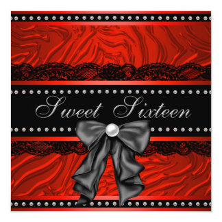 Red Zebra Sweet Sixteen Birthday Party 13 Cm X 13 Cm Square Invitation Card