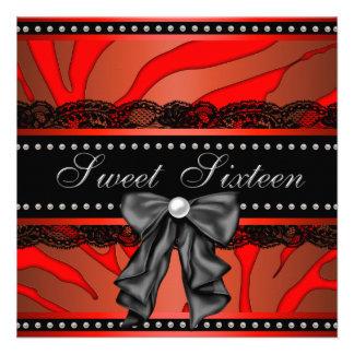Red Zebra Sweet Sixteen Birthday Party Custom Invite