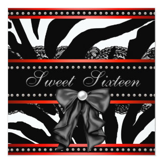 Red Zebra Sweet Sixteen Birthday Party Personalized Invitation
