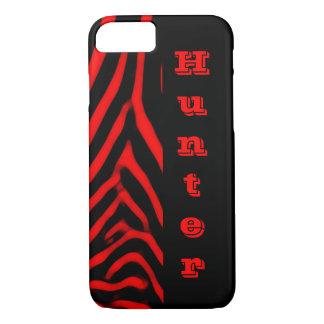 Red Zebra Vertical Monogram iPhone 8/7 Case