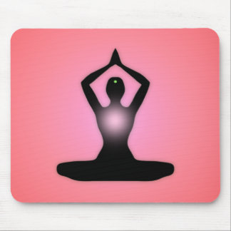 Red Zen Meditation Sunburst Mouse Pad