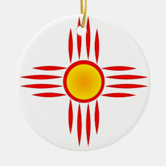 Red Zia Sun God Round Ceramic Decoration
