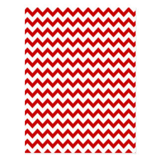 Red Zig-Zag on White Postcard