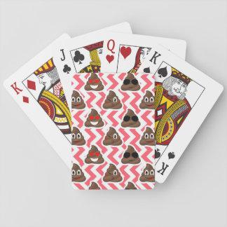 Red Zig Zag Poop Emoji Playing Cards